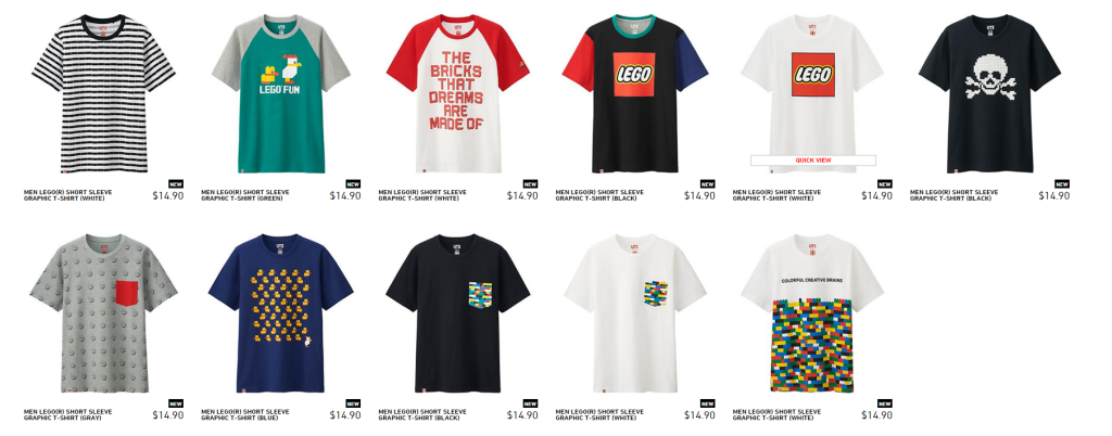 LEGO Uniqlo Men's Range