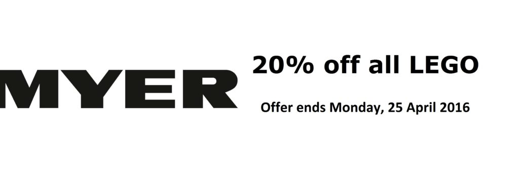 Myer-20-percent-off-LEGO April 2016