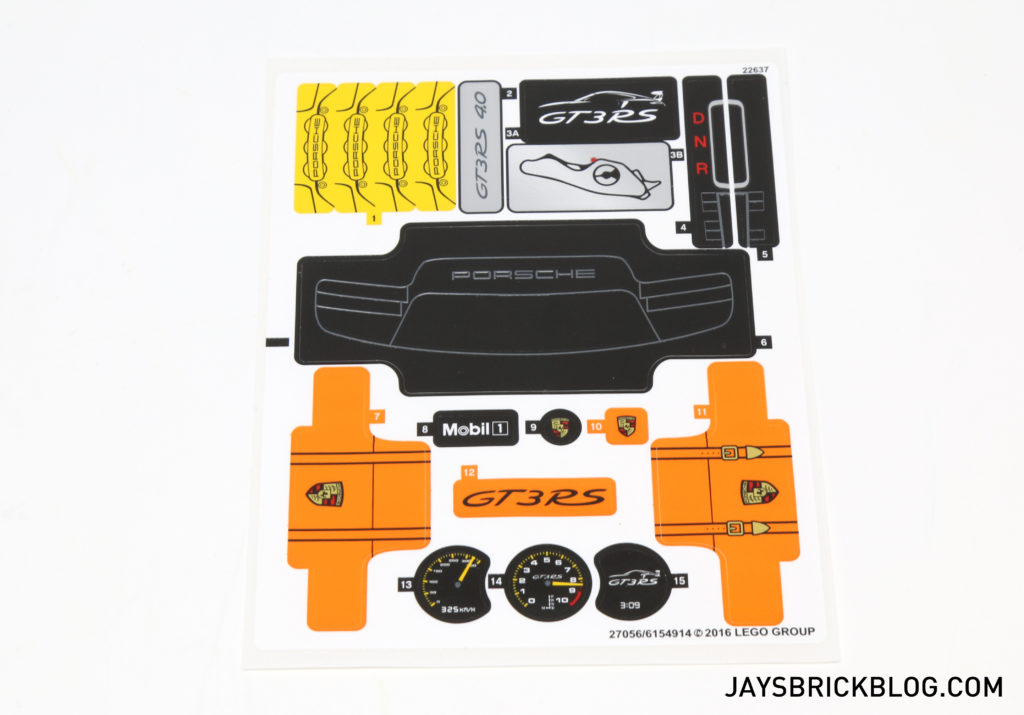 LEGO 42056 Technic Porsche 911 GT3 RS - Sticker Sheet