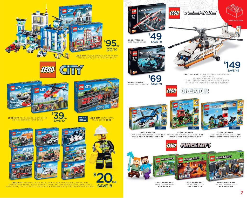 Australia Toy Sale 2016 - Big W LEGO City, Technic, Creator, Minecraft