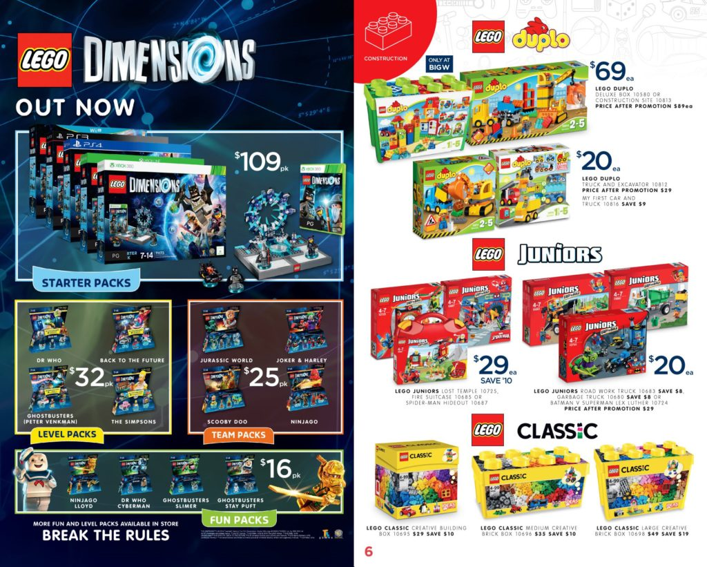 Australia Toy Sale 2016 - Big W LEGO Dimensions, Duplo, Juniors, Classic