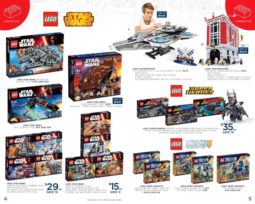 Australia Toy Sale 2016 - Big W LEGO Star Wars, Super Heroes
