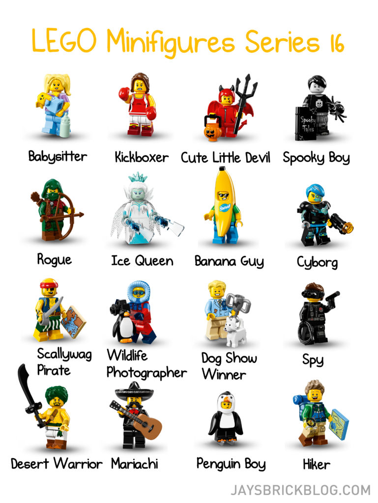 LEGO Minifigures Series 16 Character Names