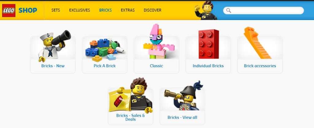 New LEGO Online Store - Bricks Dropdown