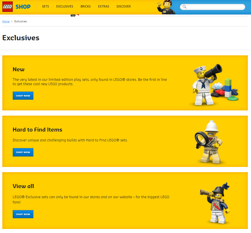 New LEGO Online Store - Exclusives Home