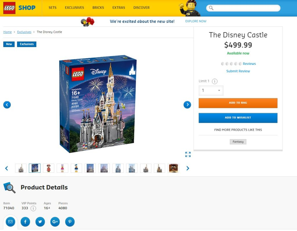 New LEGO Online Store - New Product Page