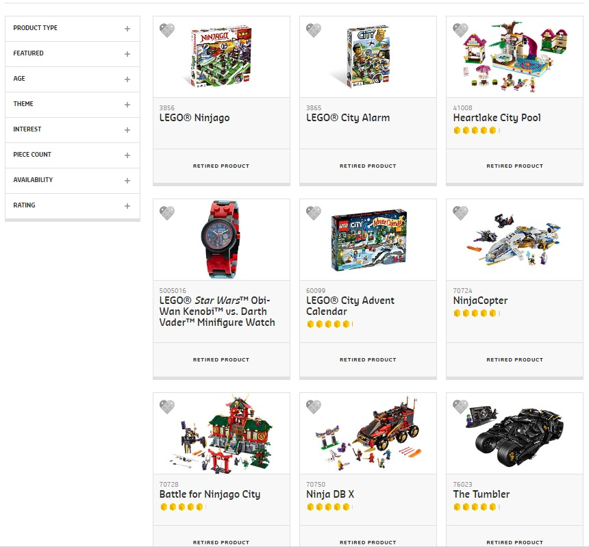 New LEGO Online Store - Retired Sets