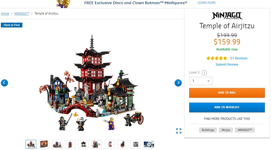 [US-only] 70751 Ninjago Temple of Airjitzu on sale on LEGO.com
