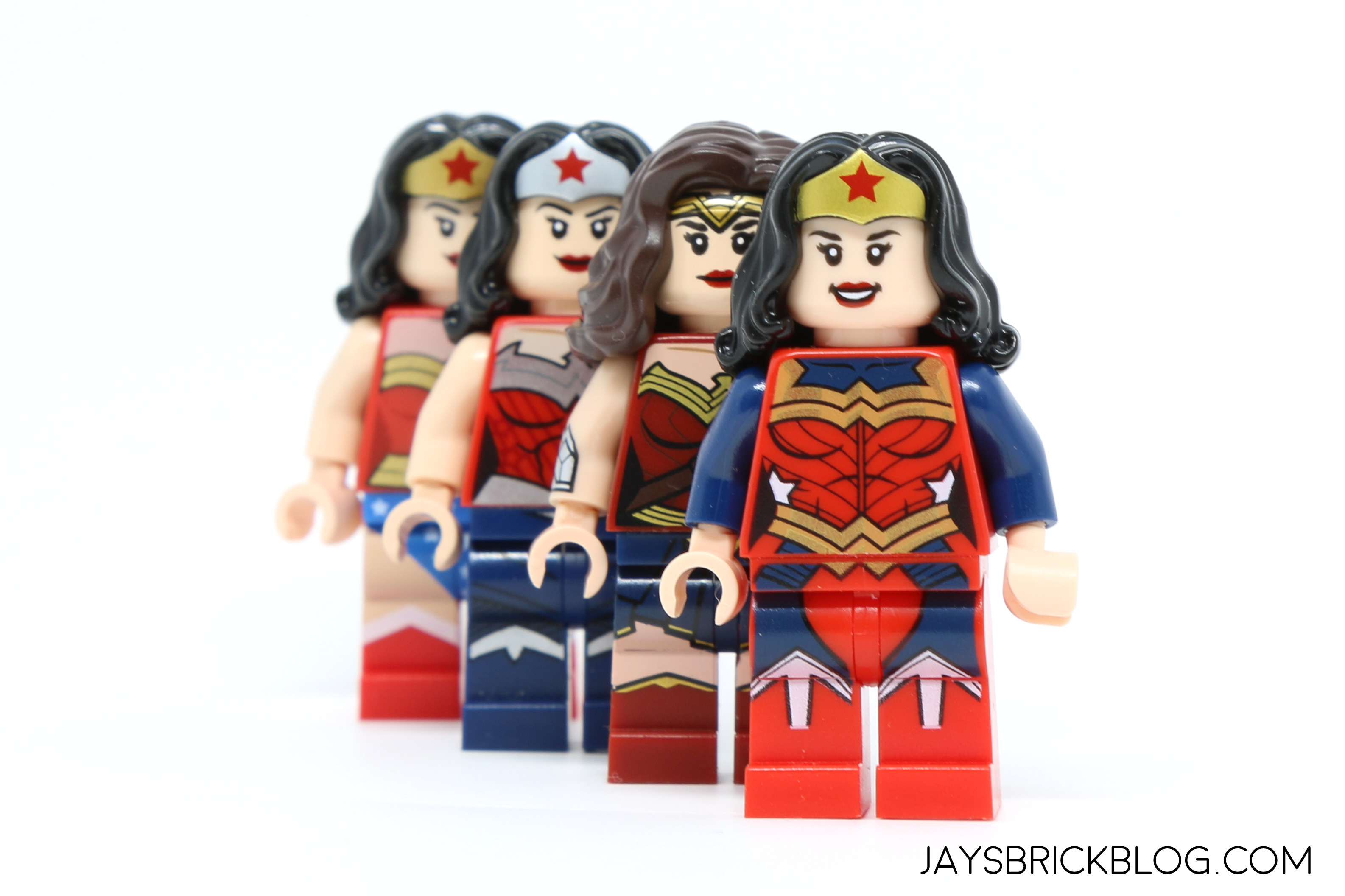 i know some people cant stand minidolls so here are all the wonder women minifigures arranged in reverse chronological order to illustrate the evolution - Lego Wonder Woman
