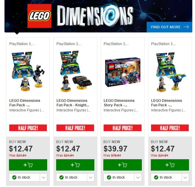 Aus LEGO Sale: Half Priced LEGO Dimensions at EB Games