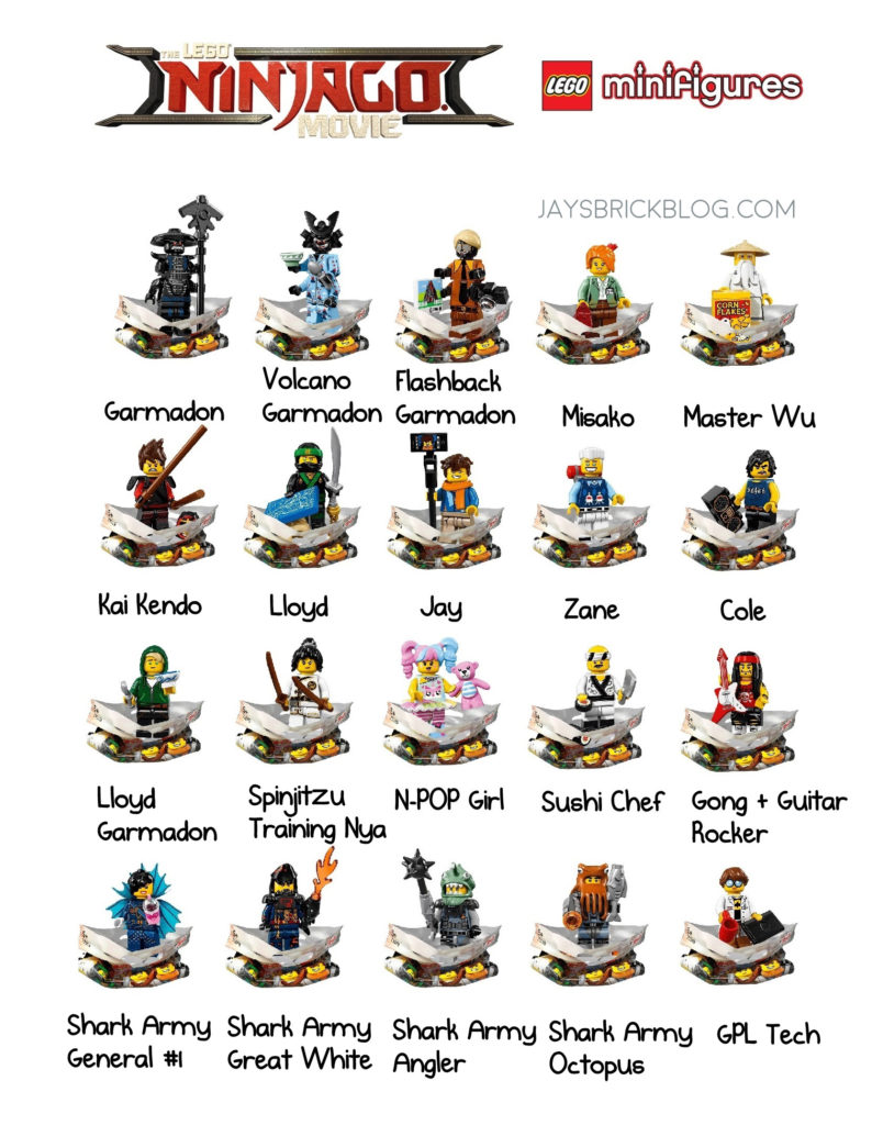 meet all 20 characters from the lego ninjago movie minifigure series. Black Bedroom Furniture Sets. Home Design Ideas