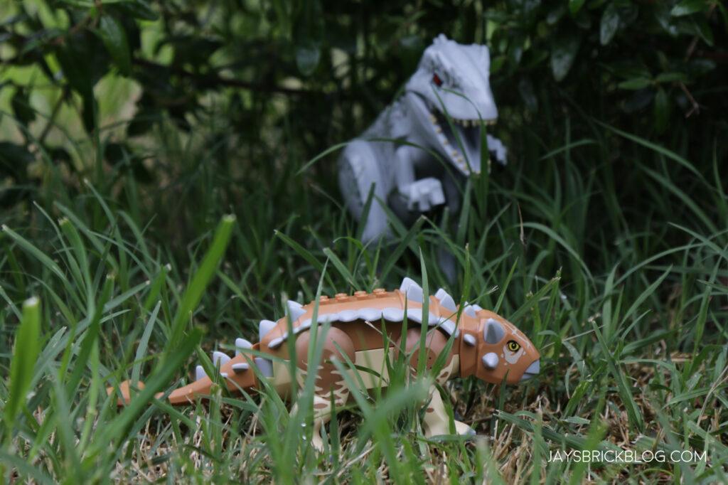 LEGO Indominus Rex stalking Ankylosaurus