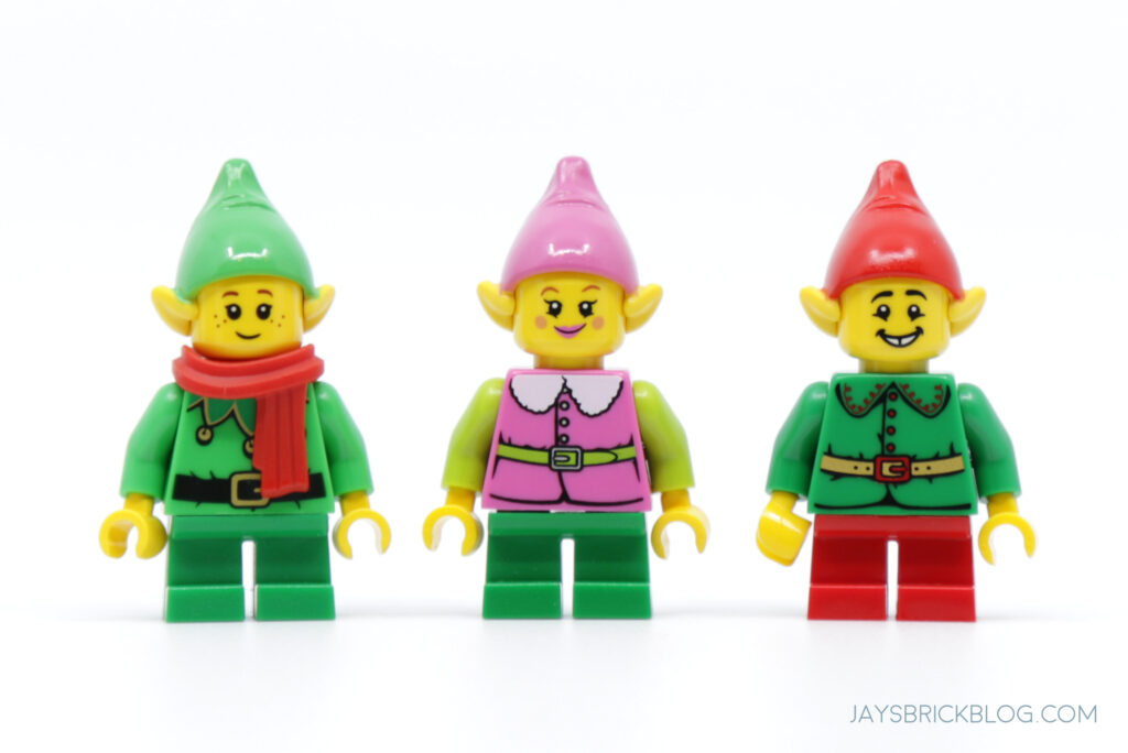 LEGO Christmas Elf colours - green, pink and red