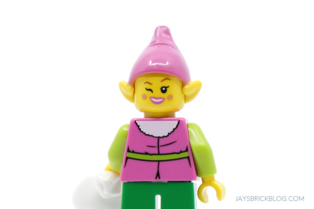 Pink Christmas Girl Elf Minifigure Alternate Face