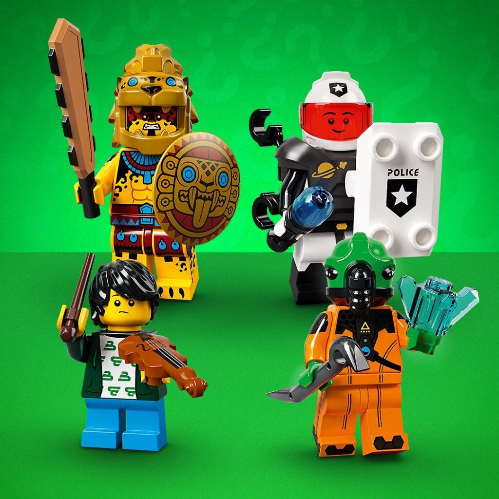 LEGO Aztec Jaguar Warrior, Space Riot Police, Violinist, Space Alien Minifigures