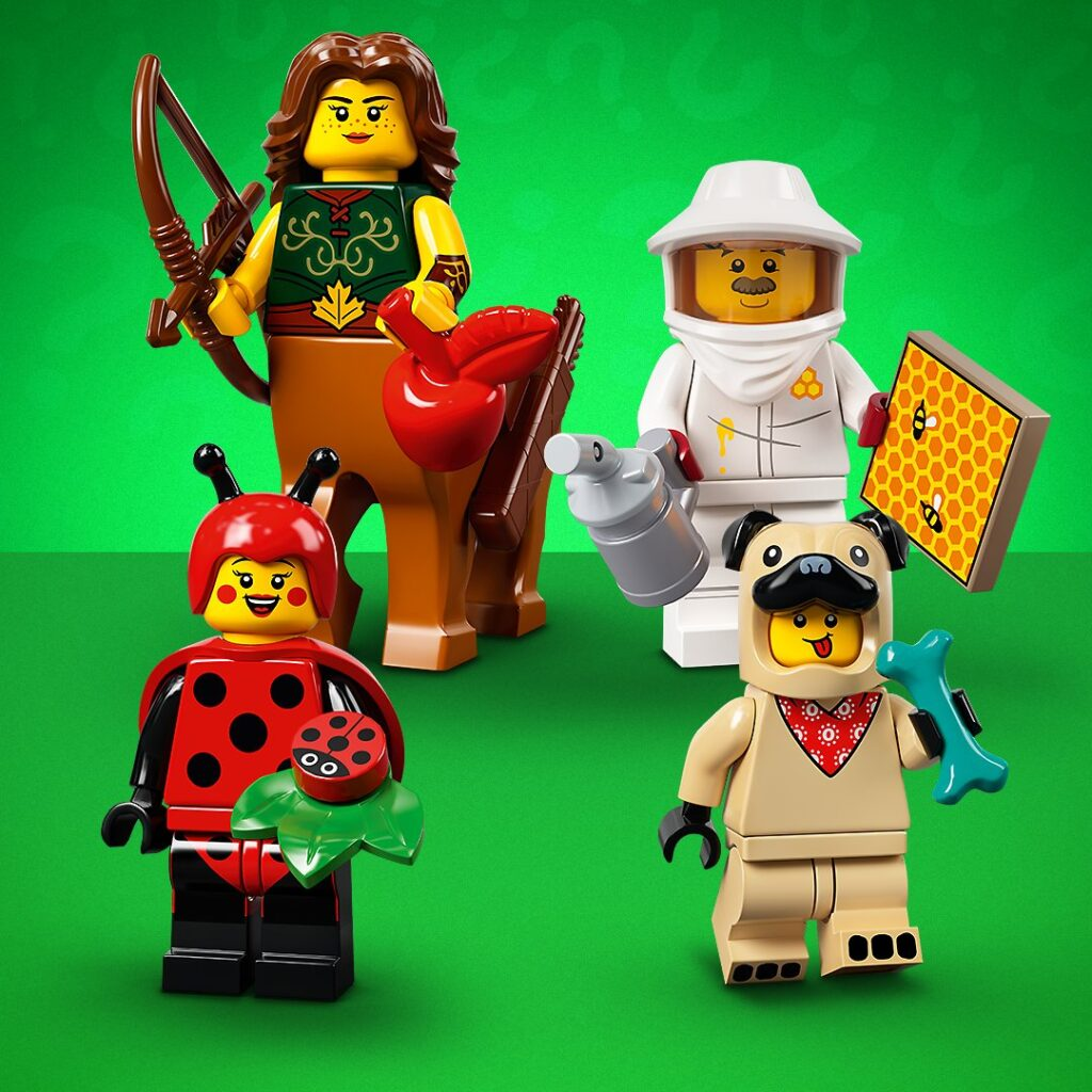 LEGO Female Centaur, Beekeeper, Ladybug Costume Girl, Pug Suit Boy Minifigures