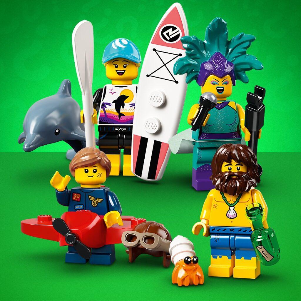 LEGO Dolphin Trainer, Carnival Singer, Plane Girl, Desert Island Survivor Minifigures