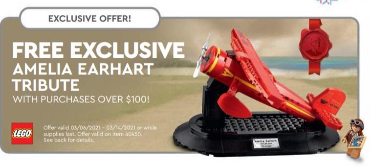 LEGO Amelia Earhart US LEGO Store Calendar March 2021