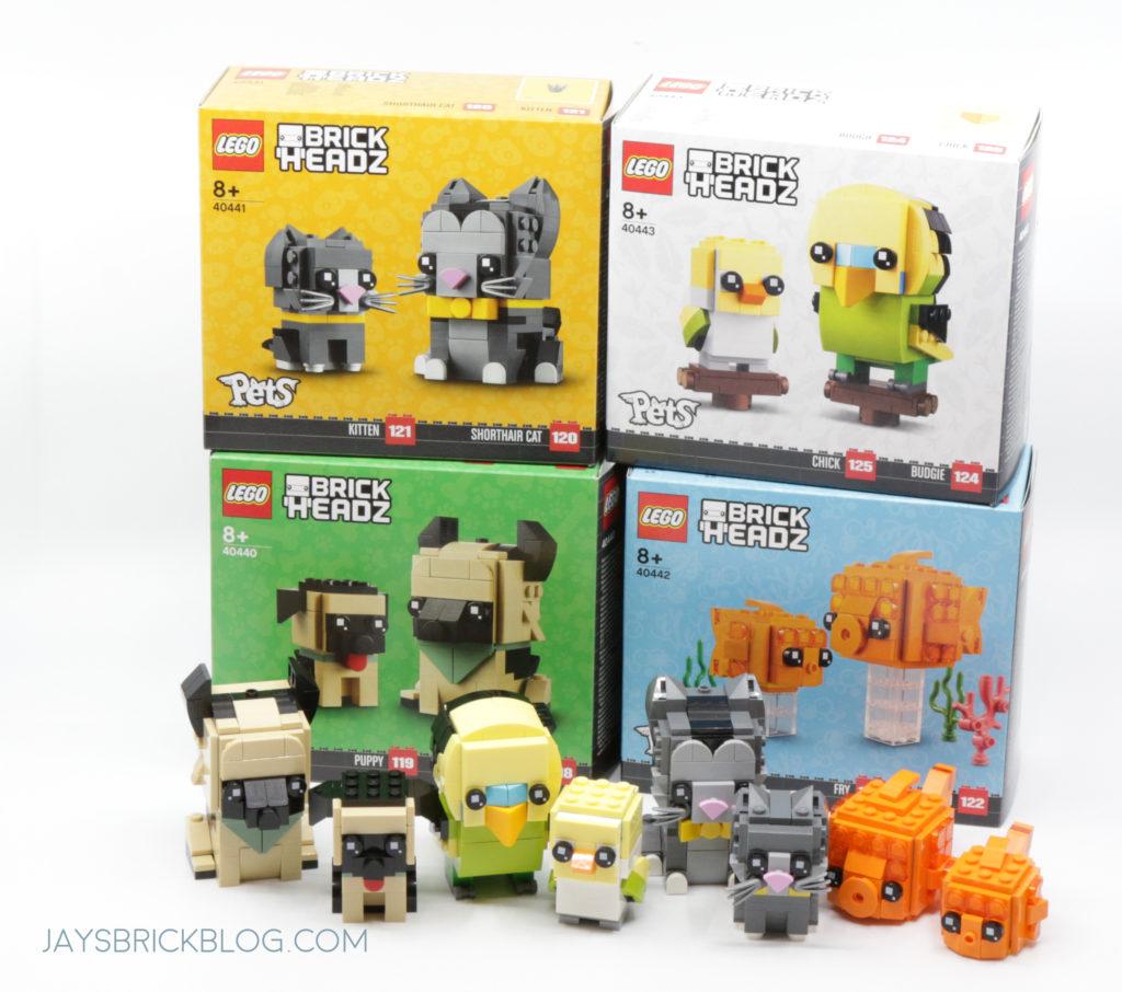 LEGO Brickheadz Pets Wave 1 and 2 Boxes
