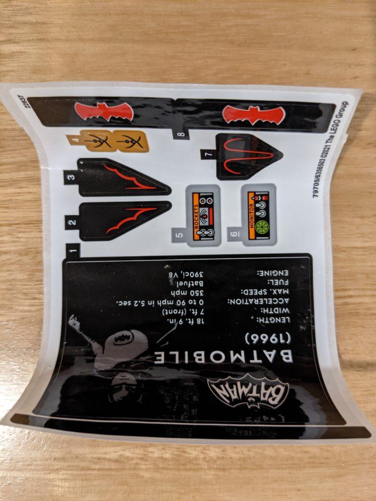 LEGO 76188 Classic TV Series Batmobile Sticker Sheet