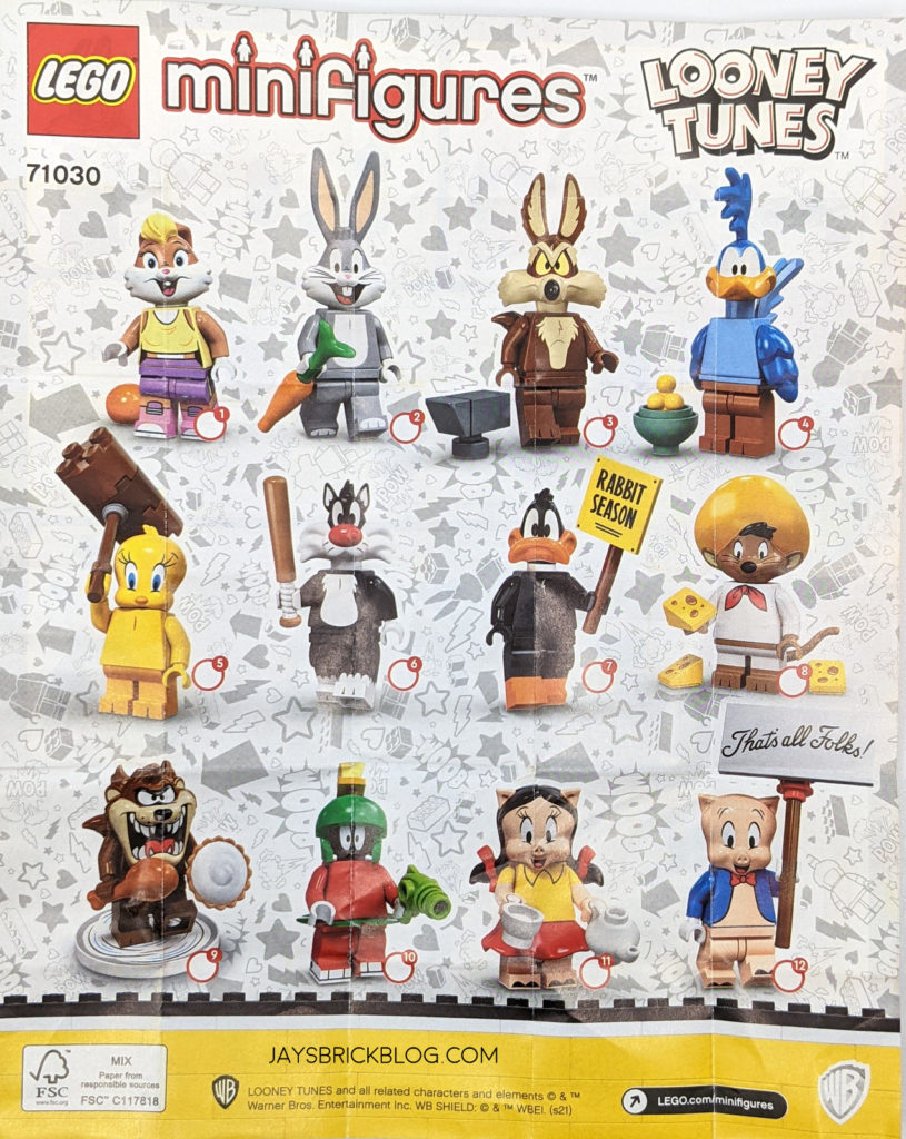 LEGO Looney Tunes Minifigures Checklist Characters