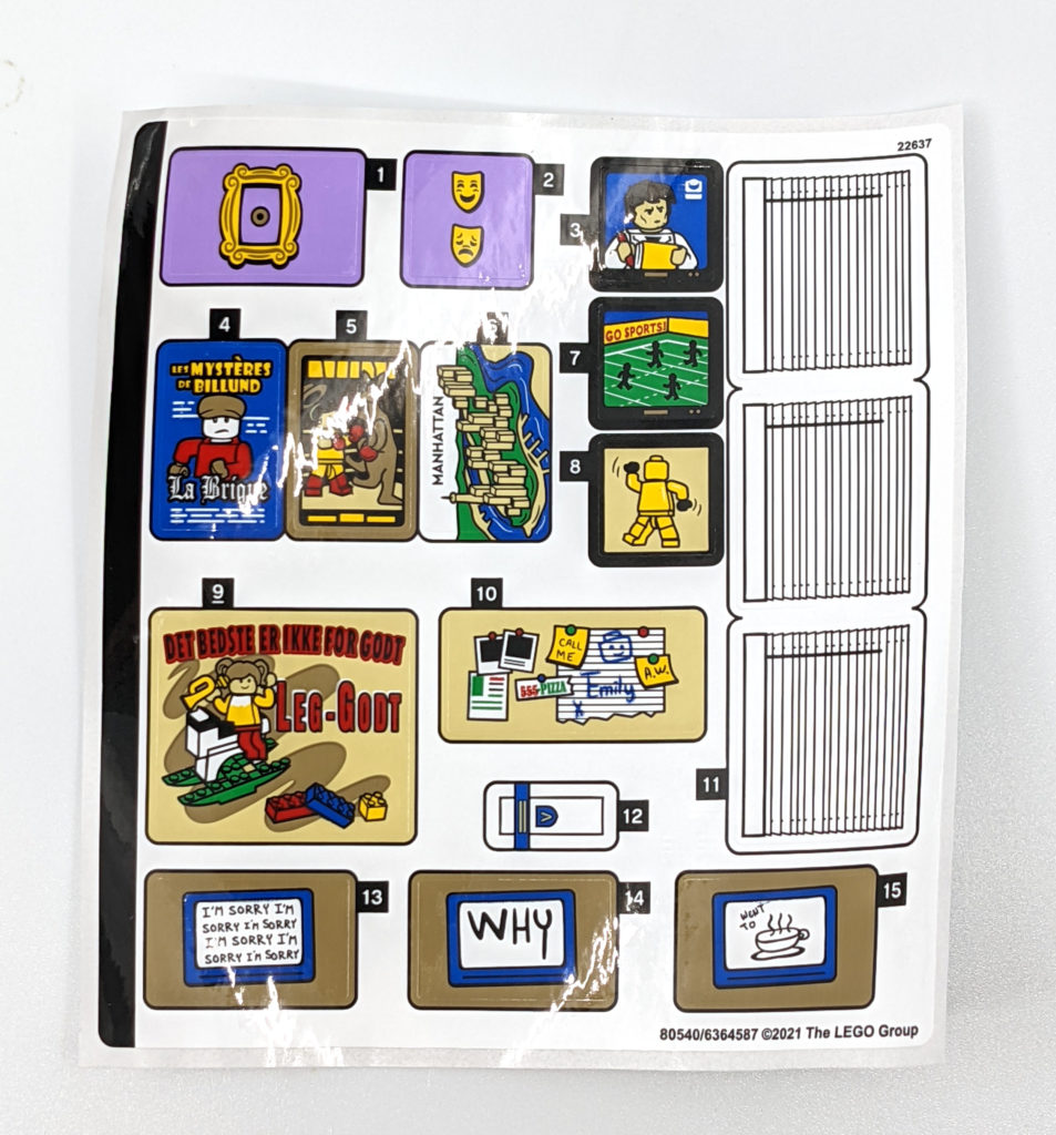 LEGO 10292 The Friends Apartments Sticker Sheet