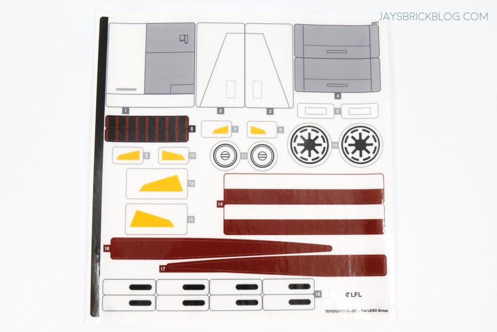 LEGO 75309 UCS Republic Gunship Sticker Sheet