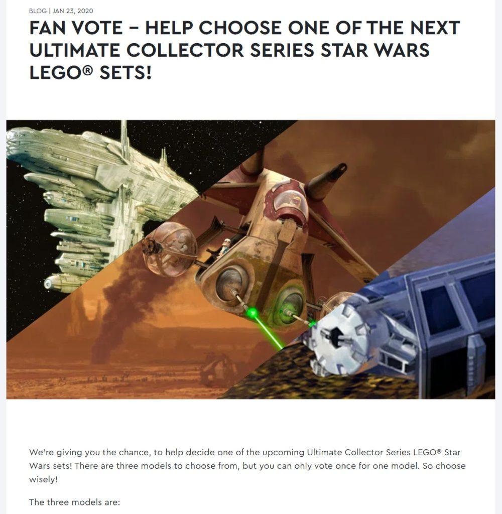 LEGO Ideas UCS Fan Vote 2020
