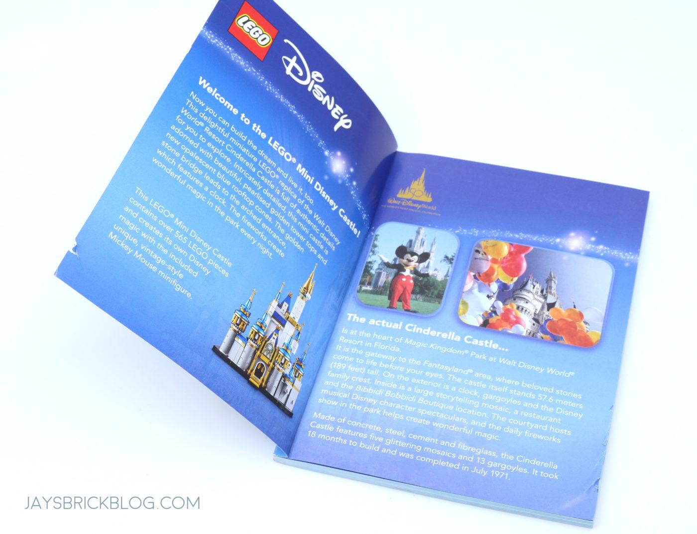 LEGO 40478 Mini Disney Castle Manual Inside