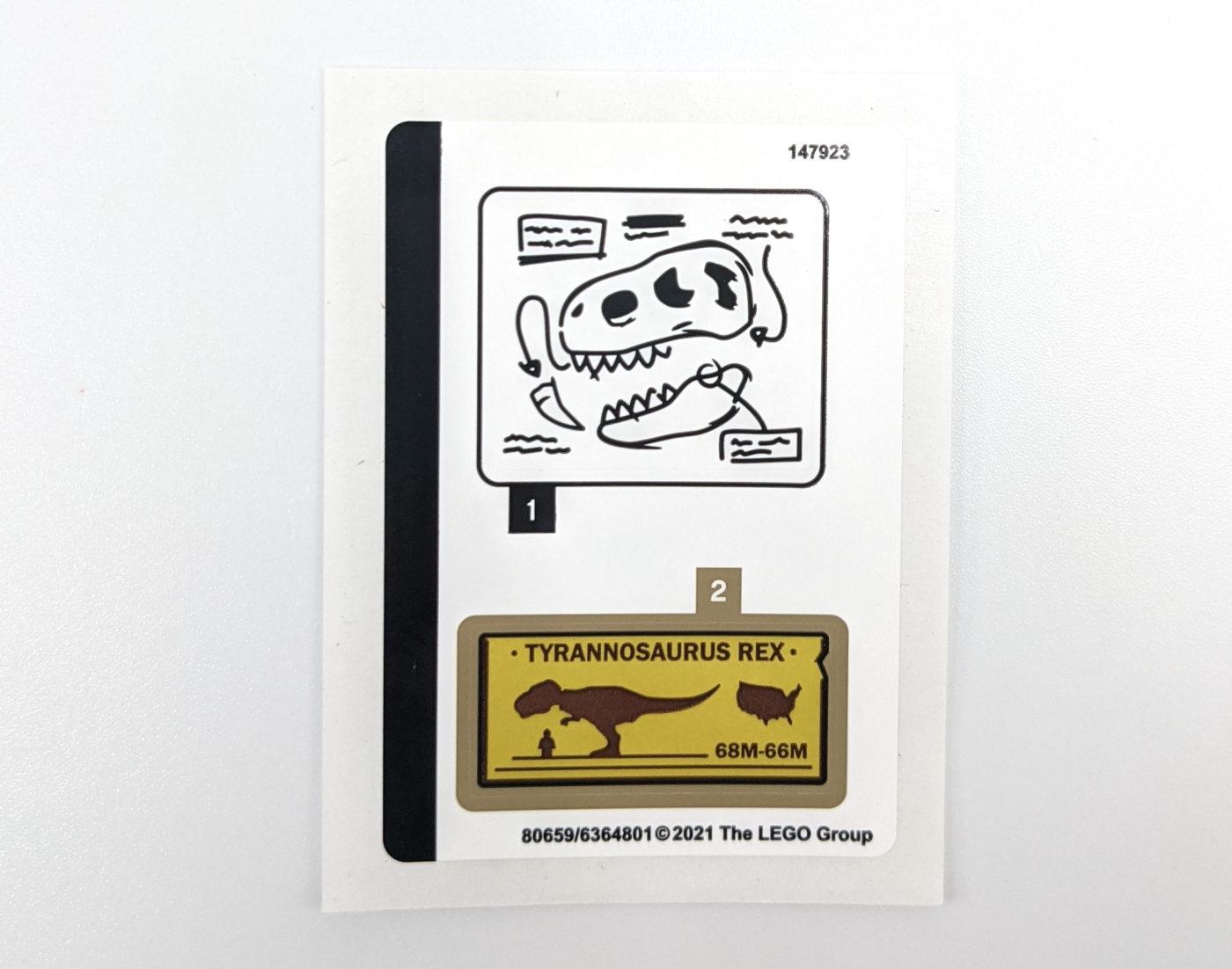 LEGO 76940 T. rex Dinosaur Fossil Exhibition Sticker Sheet